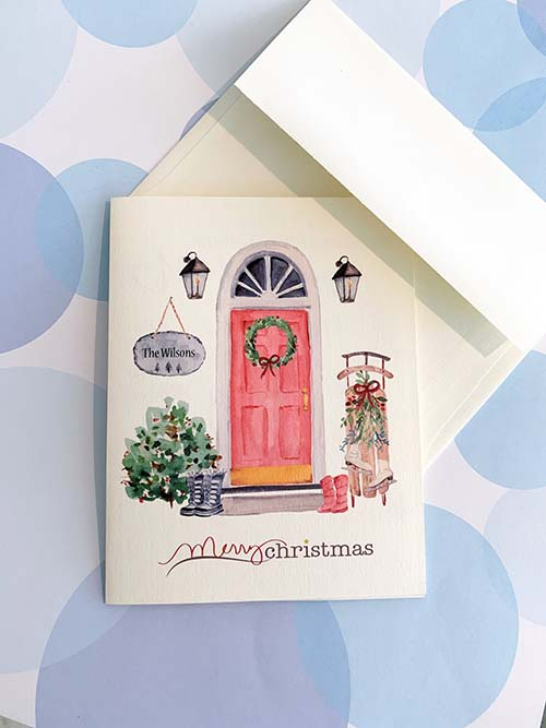 Custom Front Door Christmas Card