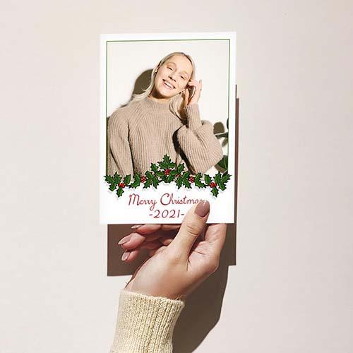 Garland Framed Merry Christmas Card