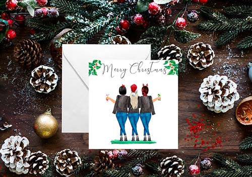 Girls Group Illustrated Christmas Card