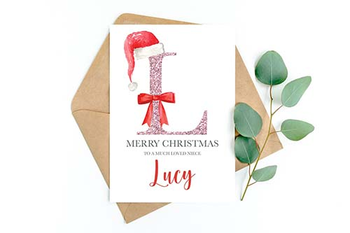 Pink Glitter Initial Christmas Cards for Her