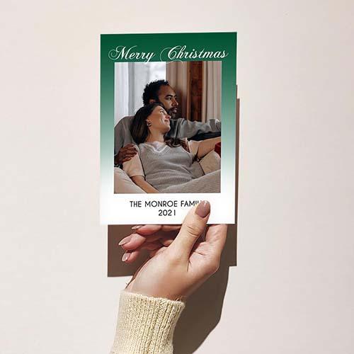Green Faded Minimal Christmas Card