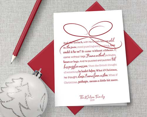 Grinch Quote - Personalized Christmas Card