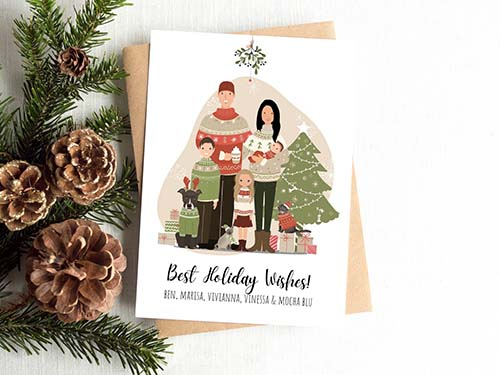 Illustrated Christmas Card: Holiday Wishes