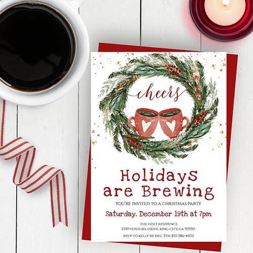Holiday Are Brewing - Christmas Party Invite