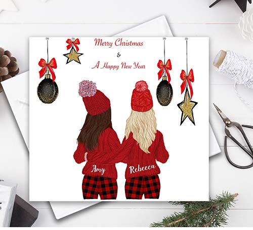 Illustrated Happy New Years & Merry Christmas Card