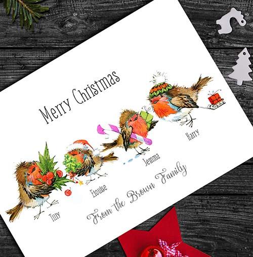 Illustrated Robins Christmas Card