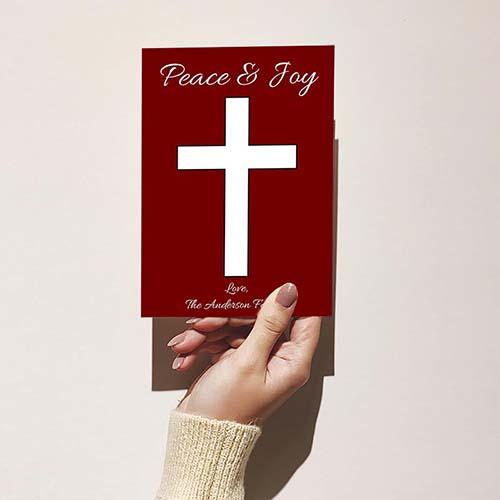 Peace & Joy - Cross Christmas Card