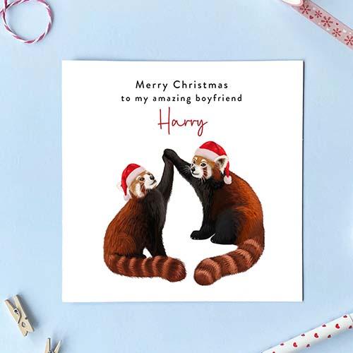Red Panda Merry Christmas Card
