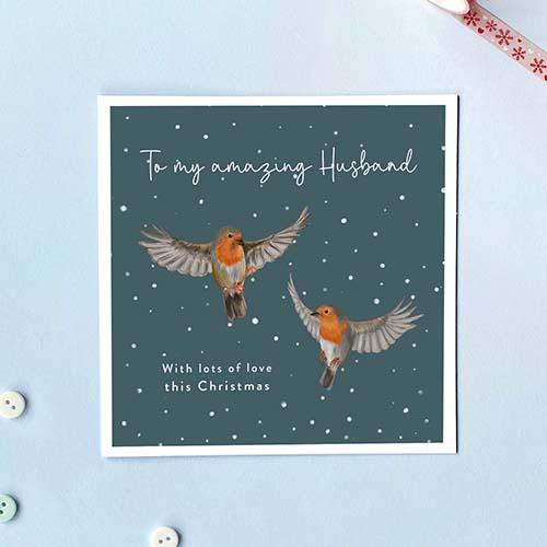 Robin Christmas Card for Husbands