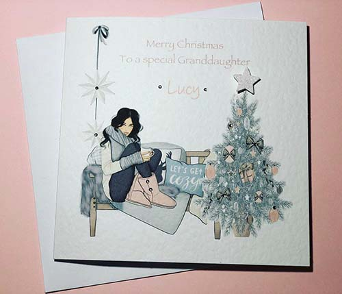 Personalized Merry Christmas Cards for Granddaughters