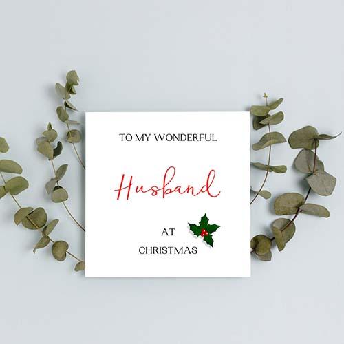 To My Wonderful Husband - Christmas Card