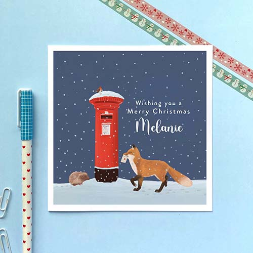Personalized Woodland Christmas Card