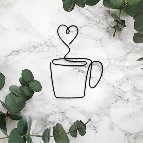 Best Coffee Decoration: Wire Heart Cup