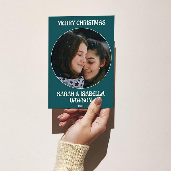 Template Photo Christmas Customizable Greeting Card: Simple Couple's Portrait