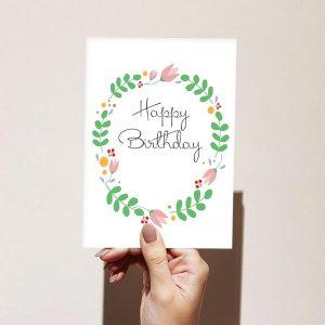 Floral Cottage Wreath Happy Birthday Card