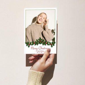 Template Photo Christmas Customizable Greeting Card: Garland Framed
