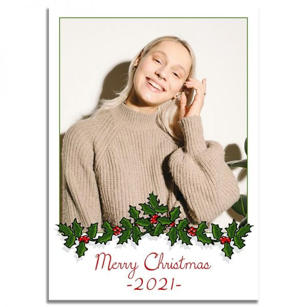 Downloadable Christmas Greeting Card: Garland Framed