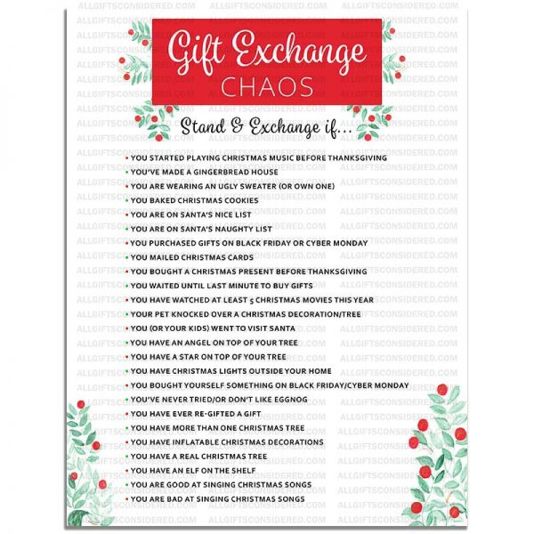 Example Photo for the Gift Exchange Chaos (Stand & Exchange If)