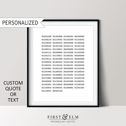 Personalized Binary Code Poster