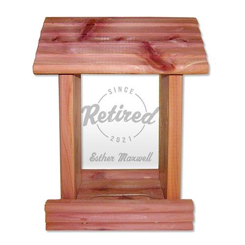 "Personalized ""Retired Since..."" Bird Feeder"