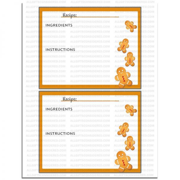 Example Photo for the Ginger Bread Themed - Simple Recipe Card