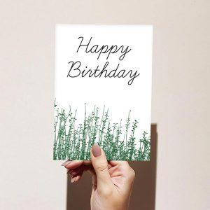 Green Grass Scenery Happy Birthday Card