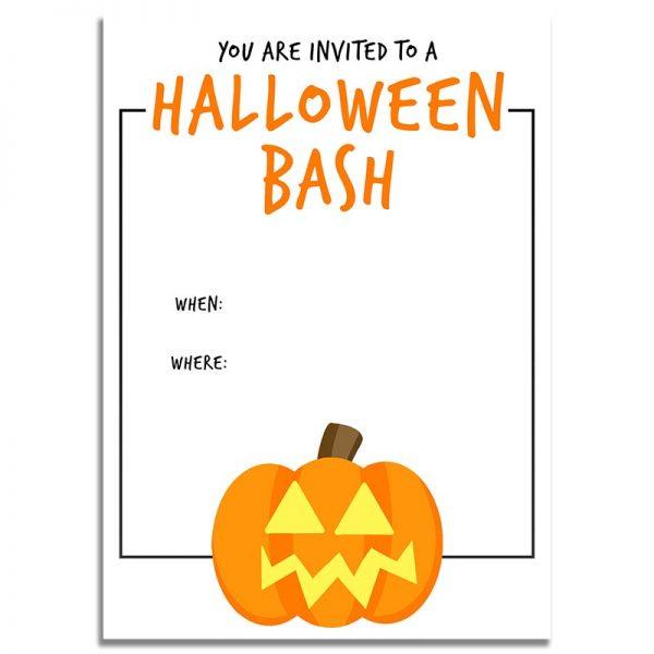 5x7 Halloween Bash Orange Pumpkin Halloween Invitation Download