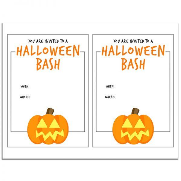 8.5x11 Halloween Bash Orange Pumpkin Halloween Invitation Download