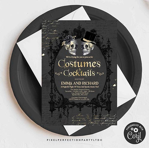 Halloween Invites: Costumes and Cocktails