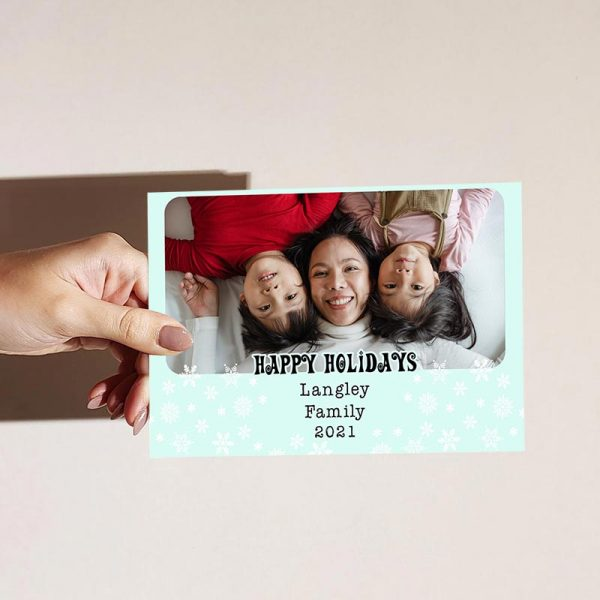 Template Photo Holiday Customizable Greeting Card: Snowflake Framed