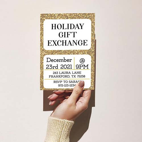 Gold Glitter Holiday Gift Exchange Invitation