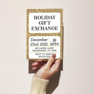Template Photo Gift Exchange Customizable Invitation Card: Holiday Gold Glitter