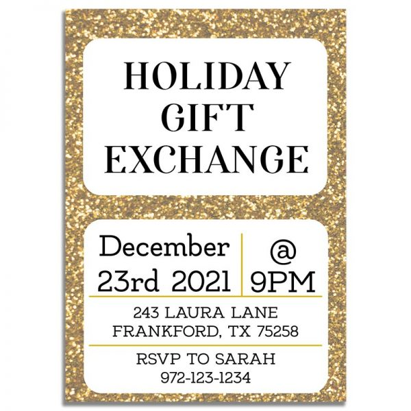 Downloadable Gift Exchange Invitation Card: Holiday Gold Glitter