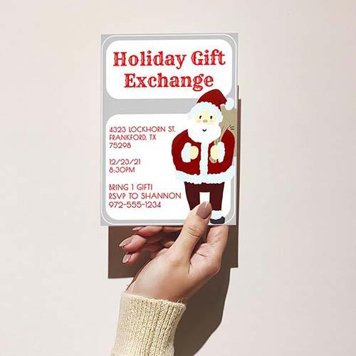 Holiday Gift Exchange Santa Party Invitation