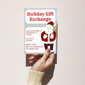 Template Photo Gift Exchange Customizable Invitation Card: Holiday Santa Claus