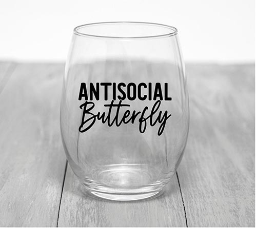 Antisocial Butterfly Wine Glass