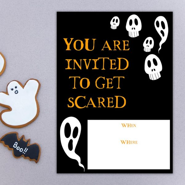 Ghost and Skulls Halloween Invite