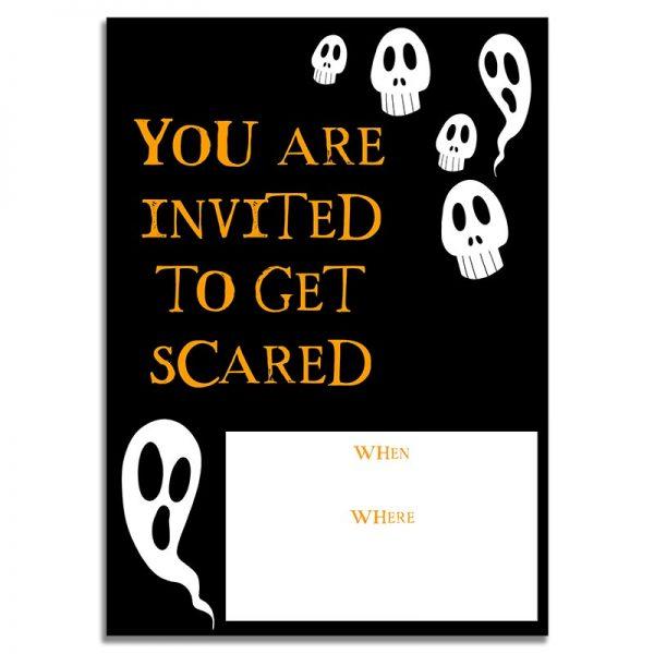 5x7 Ghost and Skulls Halloween Invitation Download