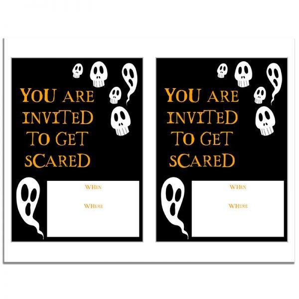 8.5x11 Ghost and Skulls Halloween Invitation Download