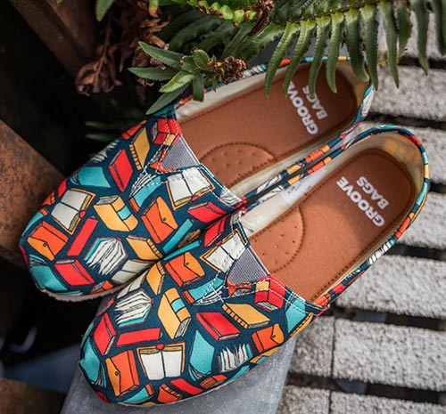 Casual Book Covered Slip Ons