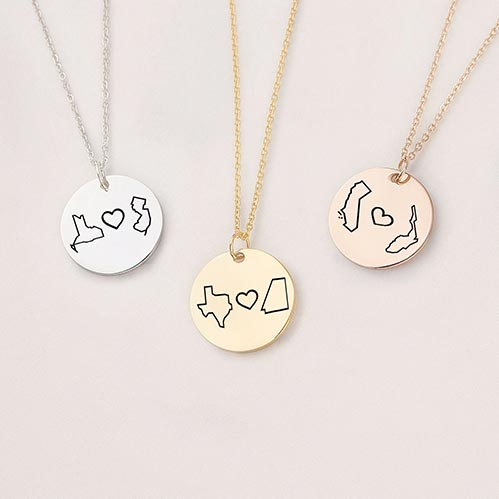 Long Distance State Necklaces