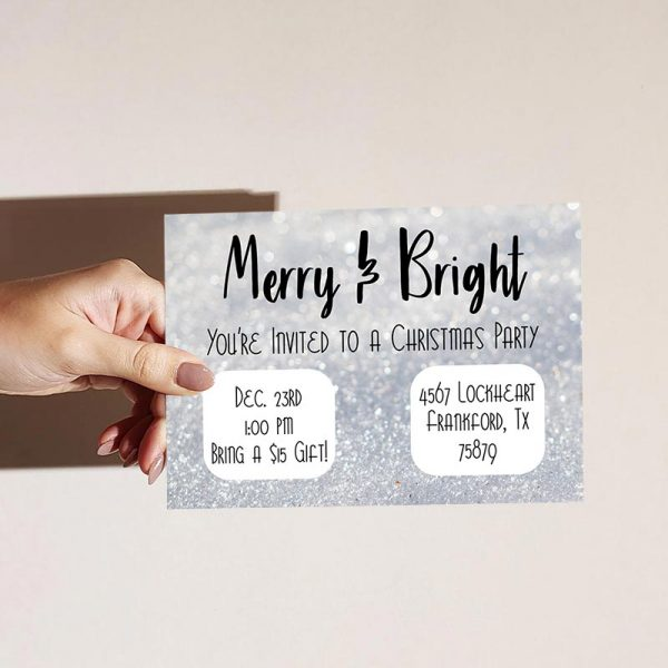 Template Photo Christmas Party Customizable Invitation Card: Merry & Bright Glitter