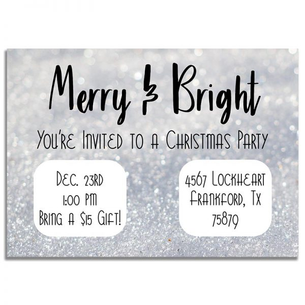 Downloadable Gift Exchange Invitation Card: Merry & Bright Glitter