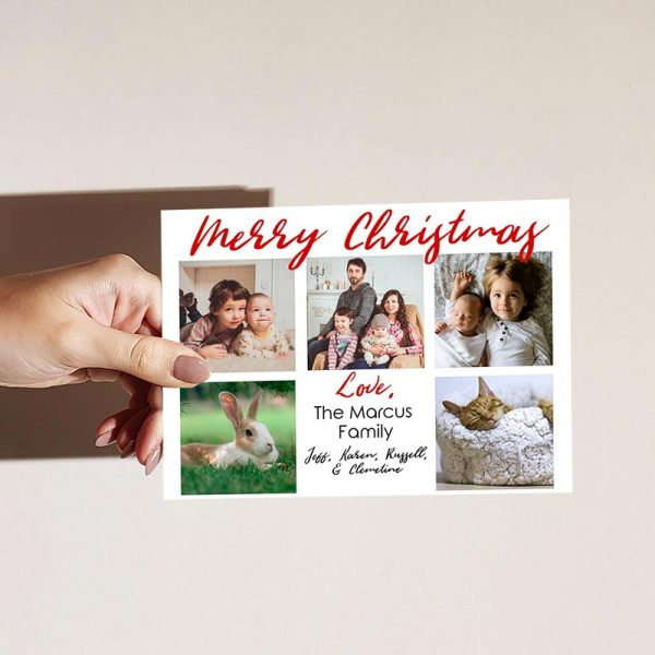 Template Photo Christmas Customizable Greeting Card: Red Family Collage