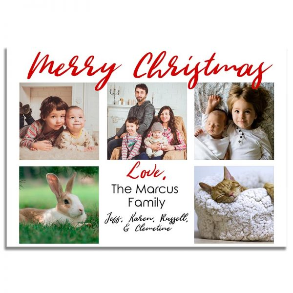 Downloadable Christmas Greeting Card: Red Family Collage