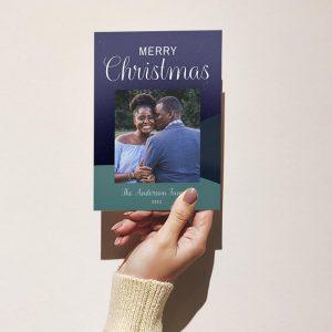 Template Photo Christmas Customizable Greeting Card: Midnight Scenery
