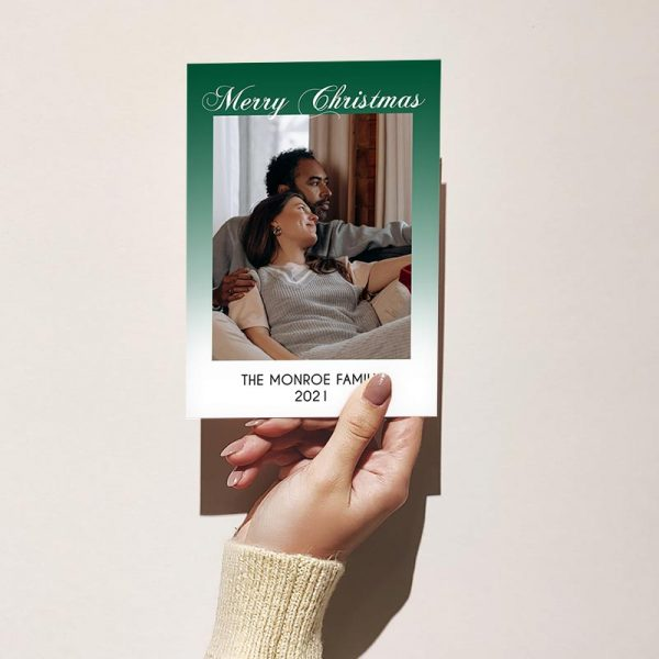Template Photo Christmas Customizable Greeting Card: Green Faded