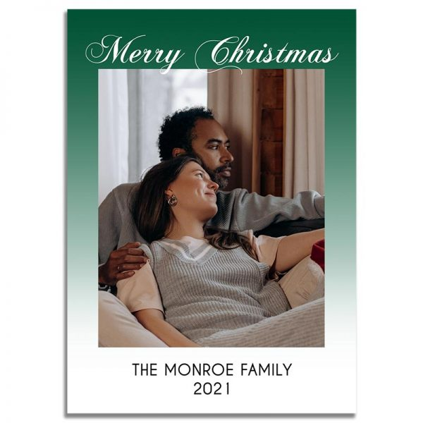 Downloadable Christmas Greeting Card: Minimalistic Green Faded