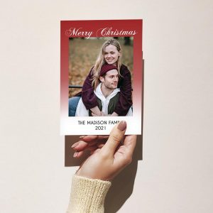 Template Photo Christmas Customizable Greeting Card: Red Faded