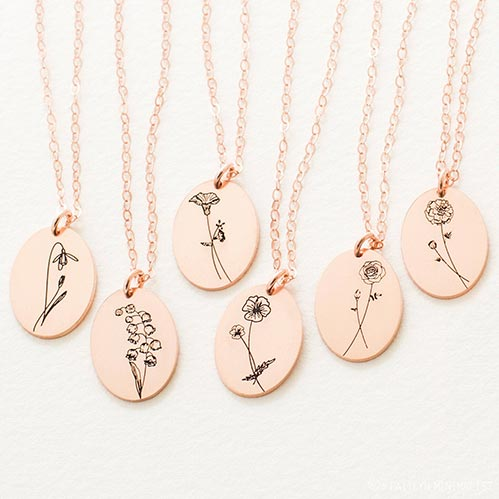 Simple Rose Gold Flower Necklace